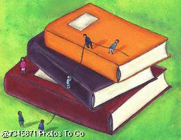 People climbing books